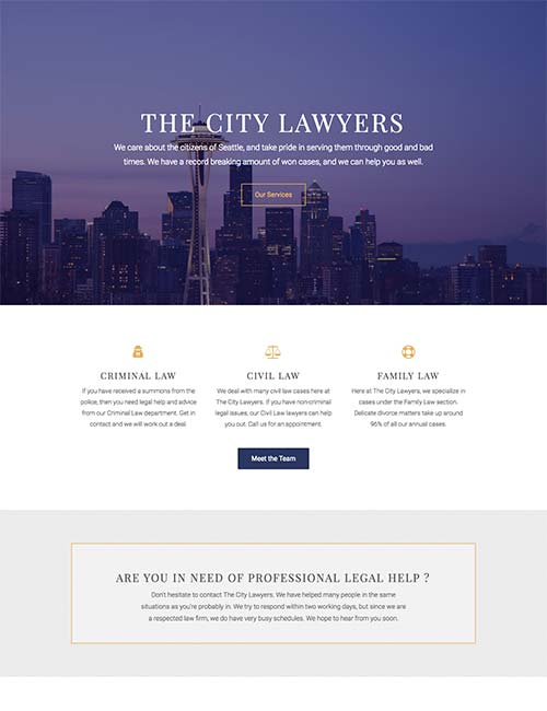City Lawyers homepage website template