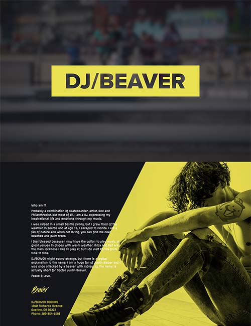 DJ Beaver website homepage template