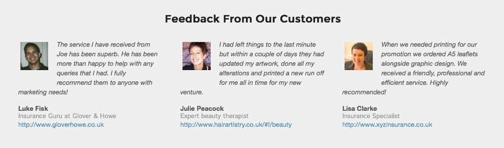 Testimonials from Printcolchester.co.uk