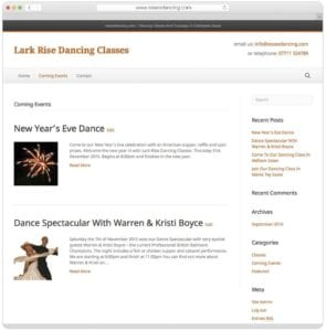 Lark Rise Dancing Classes Coming Events Page By Webwalrus Web Design